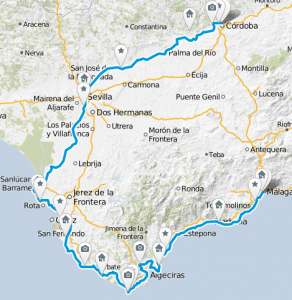 Karte mit Route der Andalusien Fahrradtour